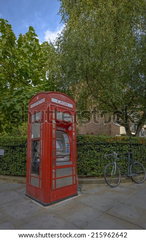 Typical Red Phone booth in Notting Hill, London - stock photo