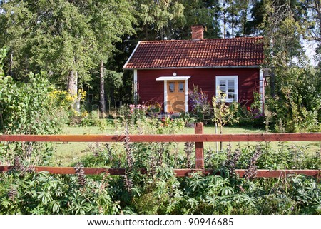 Typical red summer house in Sweden.