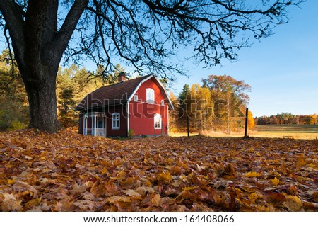 Typical red wooden house in an autumnal landscape in Sweden - stock photo