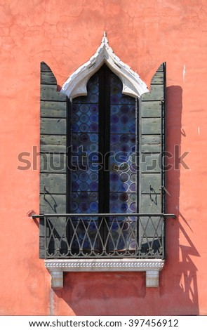 Typical renaissance window in Venice, Italy - stock photo