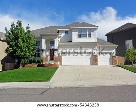 Typical residential tract house in suburban Colorado in the suburbs of Denver - stock photo