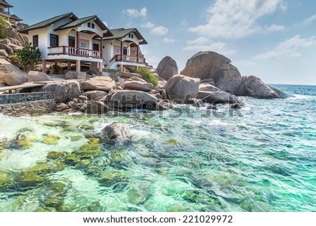 typical resort view at Koh Tao island Thailand  - stock photo