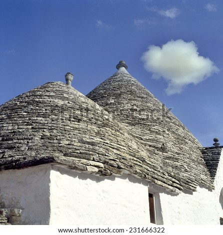 Typical roofs of houses in Alberobello, Apulia, Italy, UNESCO World Heritage Site