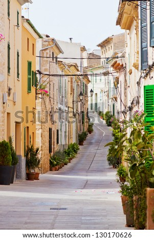 Typical rural alley in a housing area in Spain - stock photo