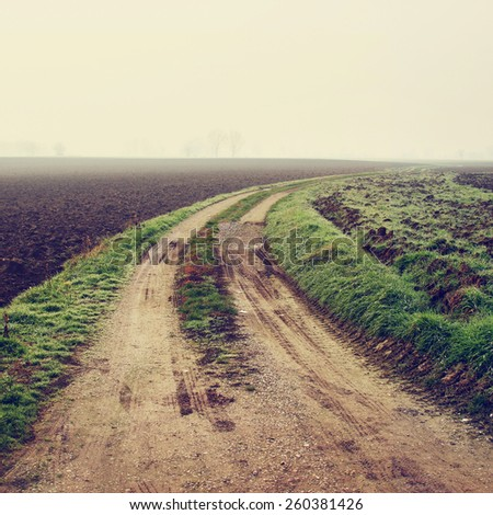 Typical rural landscape in Emilia Romagna region, Italy. Toning efffect was applied. - stock photo