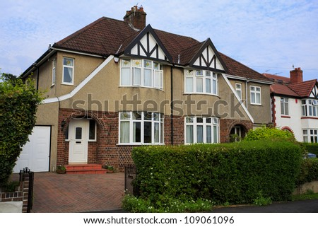 Typical 1930s pebble dashed semi detatched house with Bay Window, in Bristol, England - stock photo
