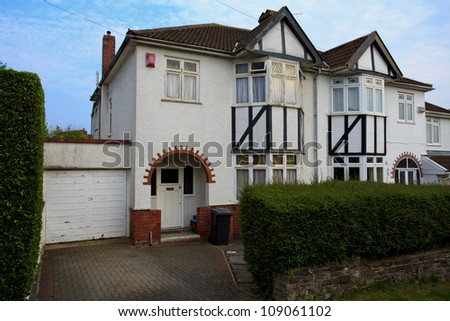 Typical 1930s white semi detatched house with Bay Window, in Bristol, England - stock photo