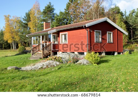 Typical scandinavian  summer cottage - stock photo