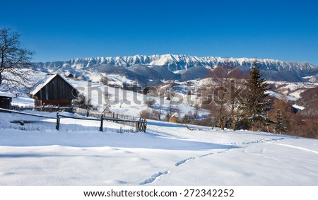 Typical scenic winter view from Bran Castle surroundings - stock photo