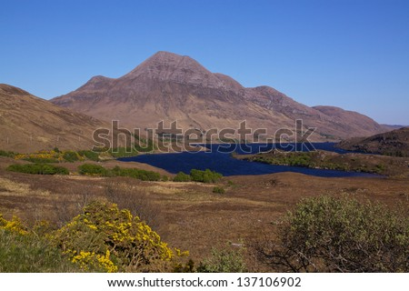 Typical scottish landscape on western coast near Loch Lurgainn - stock photo