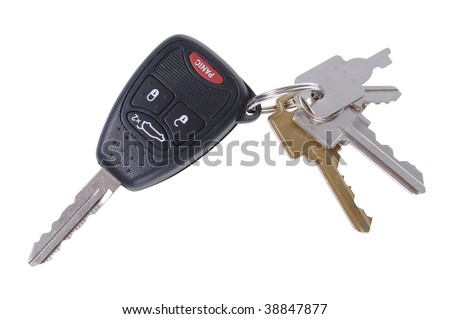 Typical set of keys on ring. Isolated on white. - stock photo