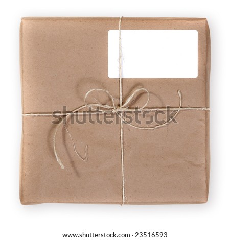 Typical Shipping Package Sent Through the Mail. Sample Text Easily Removed on White Background - stock photo