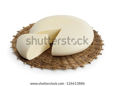 Typical Sicilian cheese from cow called VASTEDDA, on white background - stock photo