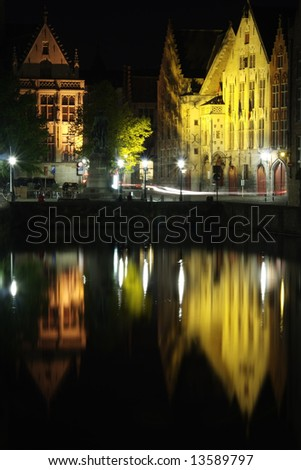 typical sights of the city at night near augustine bridge - stock photo