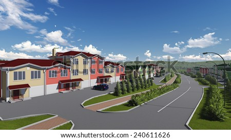 Typical small town main street. Three dimensional rendering illustration. - stock photo