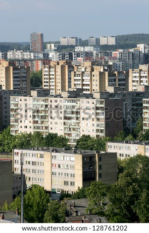 Typical socialist block of flats in Vilnius, Lithuania East Europe. - stock photo