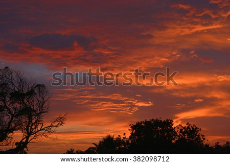 Typical South African morning landscape during sunrise. - stock photo