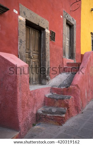 typical Spanish architecture details in San Miguel de Allende, Mexico