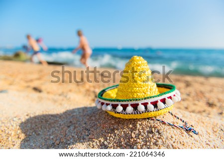 Typical Spanish Sombrero hat at the beach - stock photo