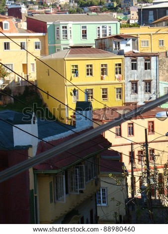 Typical street and color houses and buildings of Valparaiso, Chile - stock photo