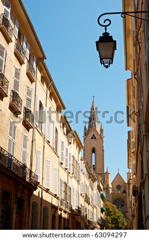 Typical street architecture in Aix en Provence, France - stock photo