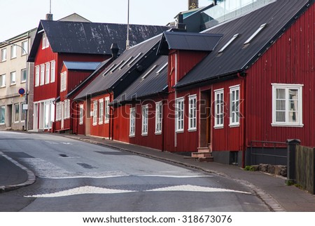 Typical street Iceland Reykjavik City Landscape - stock photo