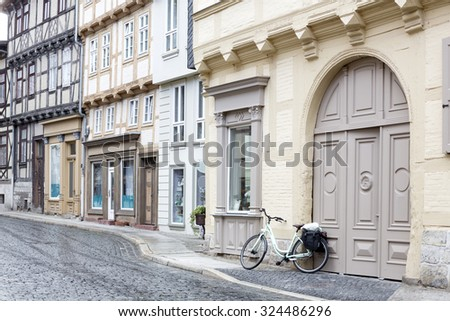 Typical street in Quedlinburg town, Germany - stock photo