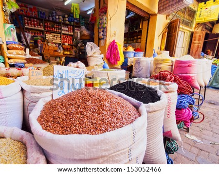 Typical street market in the old medina of Fes, Morocco, Africa - stock photo