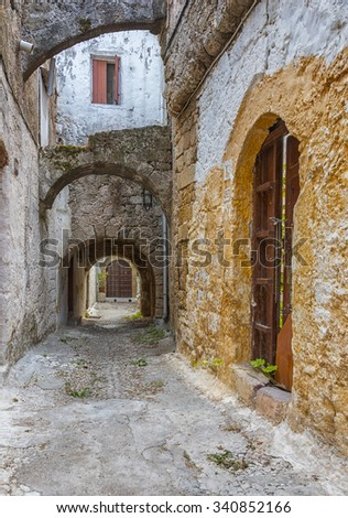 Typical streets in the old town area of Rhodes in Greeces Aegean sea