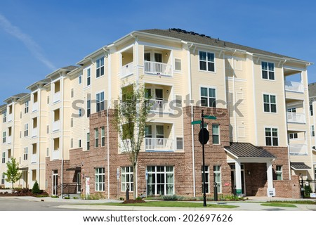 Typical suburban apartment building - stock photo