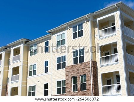 Typical suburban apartment building exterior details - stock photo