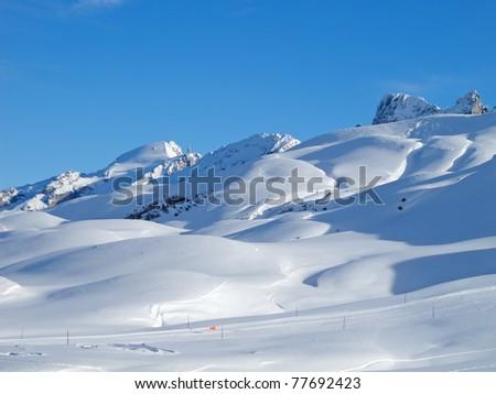 Typical swiss winter season landscape. Melchsee-Frutt, Switzerland. - stock photo