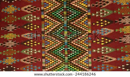 Typical Tunisian berbers' carpet style - Margoum - stock photo