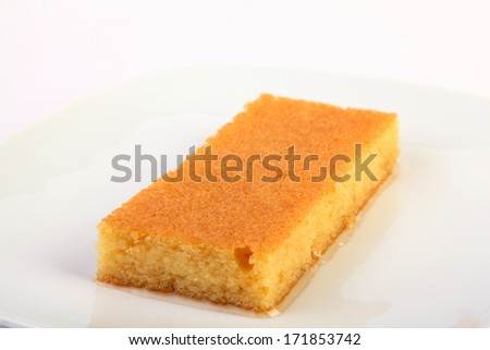 Typical turkish dessert revani on white background
