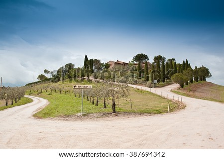 Typical Tuscan landscape in Italy with horse - stock photo