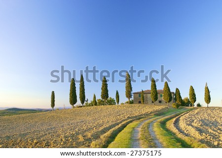 Typical Tuscan landscape in the hills with a blue sky - stock photo