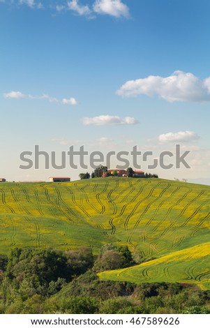 Typical Tuscany landscape, green hills springtime in Italy,Europe