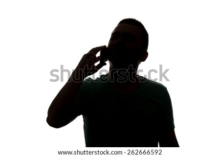 Typical Upper Body Man Silhouette Wearing A T-Shirt - Mysterious Face - Isolated On White Background