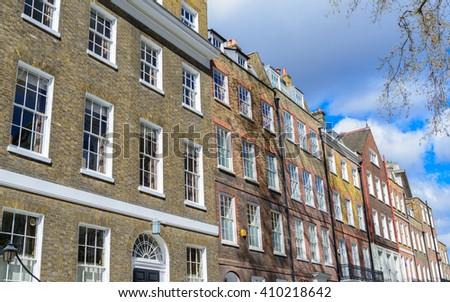 Typical upper class London Victorian townhouses - Kensington, London - stock photo
