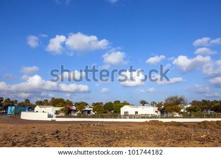 typical urbanisation resorts in Lanzarote - stock photo