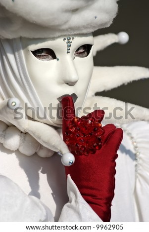 Typical Venetian carnival papier-mache masks. They were used both by men and women on different occasions - stock photo