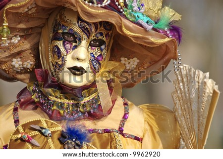 Typical Venetian carnival papier-mache masks. They were used both by men and women on different occasions