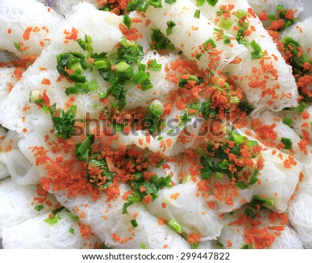 """Typical Vietnamese cuisine: Thin flat rice vermicelli in roll shape """" Banh Hoi """"  - stock photo"""