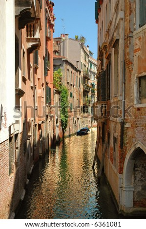 Typical view of a back 'alley' in Venice, Italy - stock photo