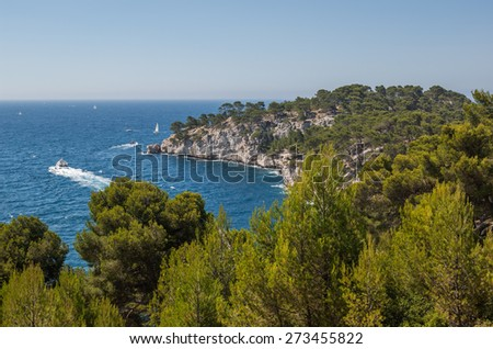 Typical view of the bays at Cassis near Marseille in South France - stock photo