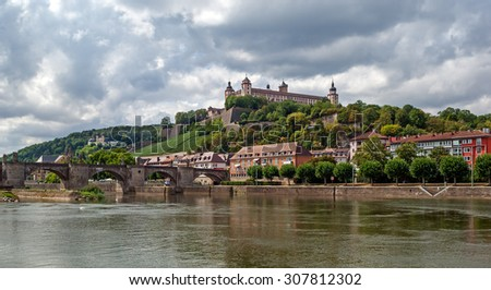 "Typical view of the old city of ""Wuerzburg"" in Bavaria - stock photo"
