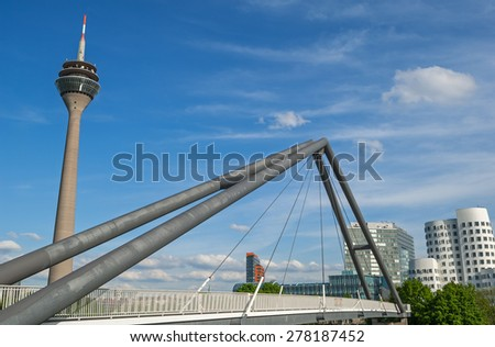 Typical view of the skyline of Dusseldorf in Germany - stock photo