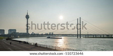 Typical view of the skyline of Dusseldorf in Germany in the later afternoon sun