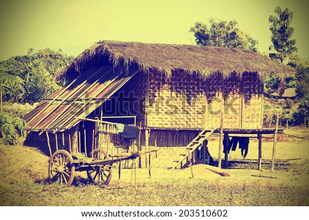 Typical village in North Myanmar (Burma), instagram effect. - stock photo