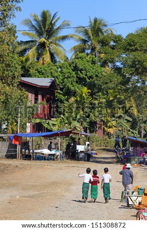 Typical village in North Myanmar, Myitkyina, (Burma). - stock photo